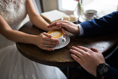 Wedding rings. Wedding, hands with wedding rings Royalty Free Stock Photography