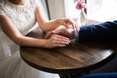 Wedding rings. Wedding, hands with wedding rings Stock Photo
