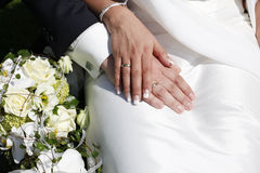 Wedding rings on hands Stock Image