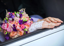 Wedding rings on the hands of the bride and groom Stock Images