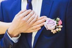 Wedding rings on hands of bride and groom. Stock Image