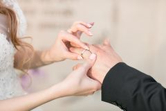 Wedding rings and hands of bride and groom. young wedding couple at ceremony. matrimony. man and woman in love. two. Happy people celebrating becoming family Stock Photos