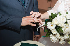 Wedding rings and hands of bride and groom. young wedding couple at ceremony. matrimony. man and woman in love. two Stock Images