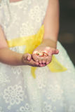 Wedding rings in the hands of a child. A child in a white dress holding a wedding ring Royalty Free Stock Photos