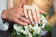 Wedding rings and hands. The groom and the bride to hold hands royalty free stock photo