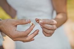 Wedding rings in hands 1850. Royalty Free Stock Images