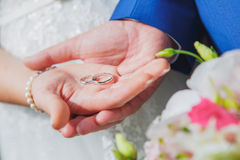 Wedding rings on hands Royalty Free Stock Image