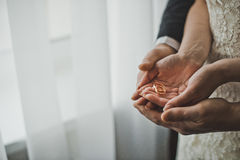 Wedding rings in the hands of the newlyweds Stock Photography