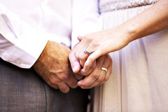 Wedding rings on hands Royalty Free Stock Photography