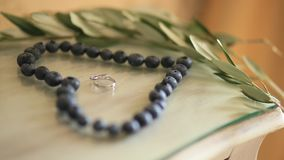 Wedding rings in a heart of a blueberry on a table, next to a br stock video footage