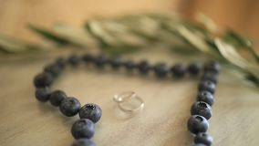 Wedding rings in a heart of a blueberry on a table, next to a br. Anch of an olive tree stock video