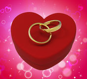 Wedding Rings On Heart Box Mean Romantic Royalty Free Stock Images
