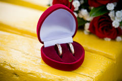 Wedding rings in the heart box Royalty Free Stock Image