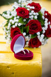 Wedding rings in the heart box Stock Image