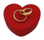 Wedding Rings On Heart Box Show Engagement Royalty Free Stock Image