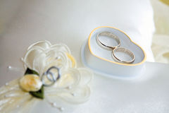 Wedding rings with heart-shaped box Royalty Free Stock Image