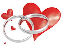 Wedding Rings with hearts Royalty Free Stock Image