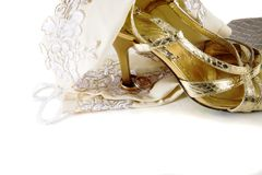 Wedding rings on the heel. Of the wedding shoe (he's mine 2 Royalty Free Stock Photography