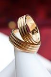 Wedding rings on the heel.  Stock Image