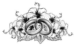 Wedding Rings and Hibiscus Flowers. A pair of intertwined wedding rings or bands and hibiscus flowers in vintage etching engraved style Stock Image