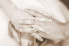 Wedding rings - husband and wife 2 Stock Images