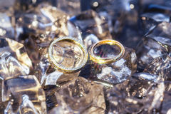 Wedding rings on the ice Stock Photography