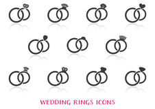 Wedding rings icons. Big set with reflection Stock Image
