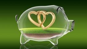 Wedding rings inside transparent piggy bank. 3d rendering Royalty Free Stock Image