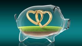 Wedding rings inside transparent piggy bank. 3d rendering Stock Photography
