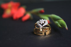 Wedding rings isolated on black background. Bride and Groom rings. Stock Photography