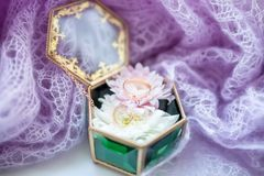 Wedding rings in jewelry box, romantic vintage style stock image