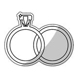 Wedding rings jewelry outline Royalty Free Stock Image