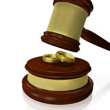 Wedding Rings Judge Gavel Mallet Royalty Free Stock Photography