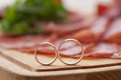 Wedding Rings at Kitchen Stock Photos
