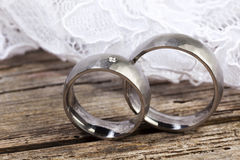 Wedding rings and lace Royalty Free Stock Photography
