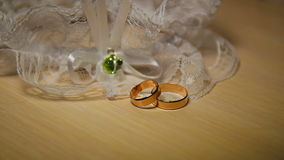Wedding Rings With Lace On The Table stock footage
