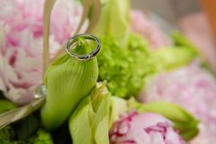 Wedding rings lie on a beautiful bouquet as bridal accessories.  Royalty Free Stock Photo