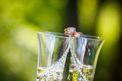 Wedding rings lie on champagne glasses Stock Image