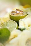 Wedding rings lie on a lemon slice Royalty Free Stock Image