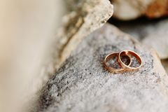 Wedding rings lie on the rock. Wedding day Royalty Free Stock Photography