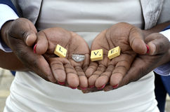Wedding rings love in hands royalty free stock image
