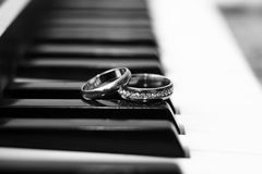 Wedding rings, love and happy, music Stock Image
