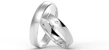 Wedding rings. Made ​​of white gold with diamonds Royalty Free Stock Images