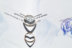 Wedding Rings and Marriage Certificate. Two wedding rings on a marriage certificate. Shallows from the rings make two hearts Stock Images