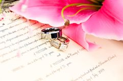 Wedding Rings on Marriage License. Bride and Grooms silver and diamond wedding rings placed on the marriage license with pink flower Royalty Free Stock Photos