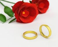 Wedding Rings Means Find Love And Adoration. Wedding Rings Showing Pair Wedlock And Roses Stock Images