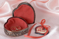 Wedding rings in a metal box Stock Photography