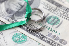 Wedding rings and money Royalty Free Stock Photos
