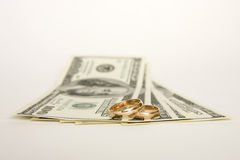 Wedding rings and money on a white background Royalty Free Stock Image