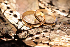 Wedding rings on a mother of pearl Royalty Free Stock Photography